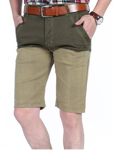 Four-pocket Patchwork Striped Casual Shorts