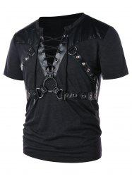 Round Hold Decorated Panel Lace Up T-shirt -