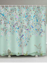 Floral Tree Birds Print Waterproof Bathroom Shower Curtain -