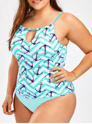 Plus Size Keyhole Anchor Zigzag Tankini Set -