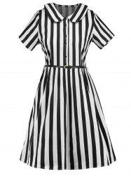 Belted Striped Peter Pan Neck Dress -