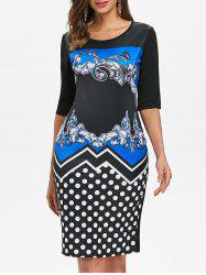 Baroque Print Dotted Sheath Dress -