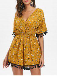 V Neck Tassels Floral Playsuit -
