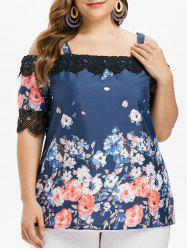 Plus Size Flower Cold Shoulder Blouse -