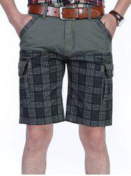 Six-pocket Check Design Patchwork Cargo Shorts -