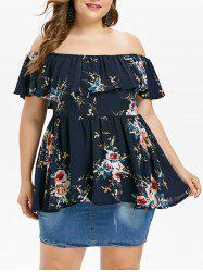 Plus Size Off The Shoulder Flounce Blouse -