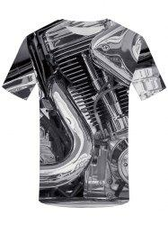 3D Motor Heavy Metal Print Round Neck T-shirt -