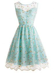 Tiny Floral Embroidery Sleeveless Dress -