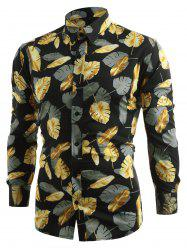 Long Sleeve Allover Golden Leaves Printed Shirt -