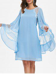 Flare Sleeve Lace Insert Shift Dress -