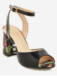 Plus Size Block Heel Flower Ankle Strap Sandals -