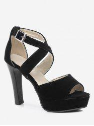 Plus Size Peep Toe Crisscross Ankle Wrap Sandals -