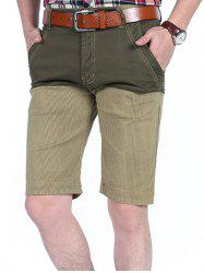 Four-pocket Patchwork Striped Casual Shorts -