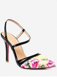 Plus Size High Heel Flower Decoration Slingback Sandals -