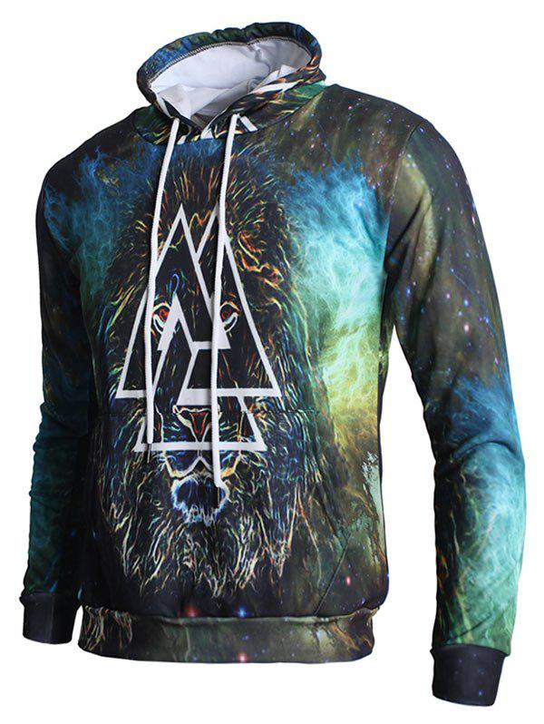 Hot Lion Triangle Print Pullover Hoodie