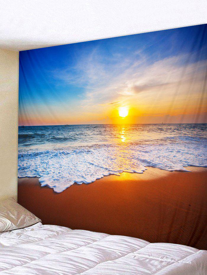 Fashion Beach Sea Waves Sunset Landscape Printed Wall Hanging Tapestry