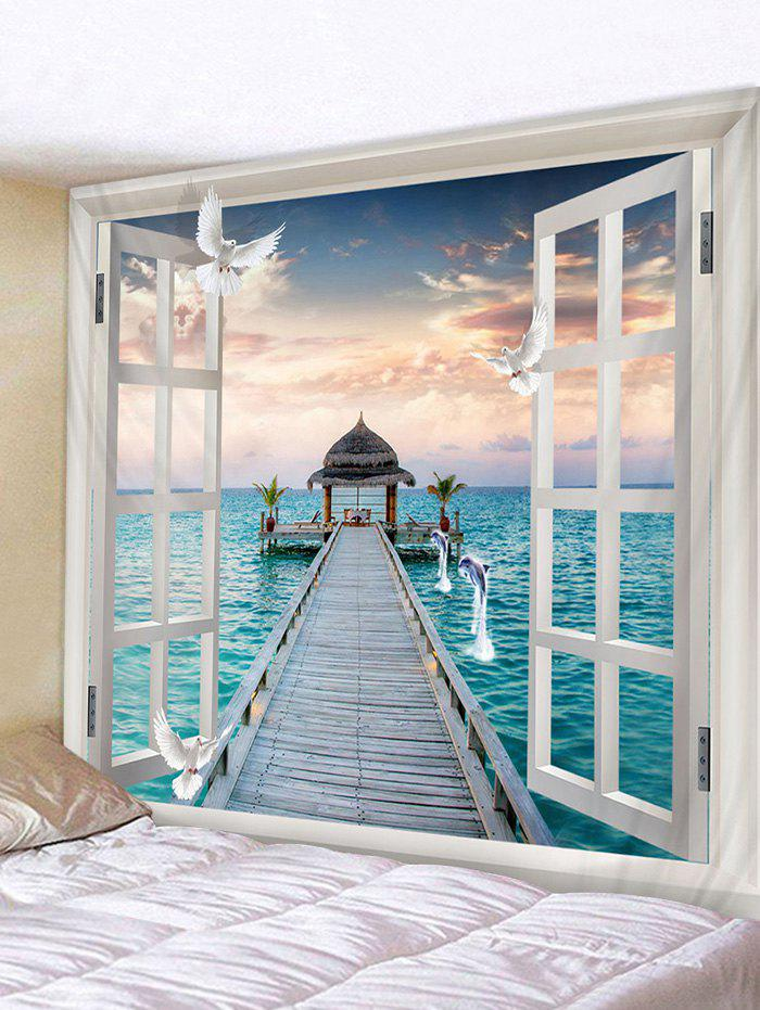 Fashion Out of Window Sea Scenery Print Wall Hanging Tapestry