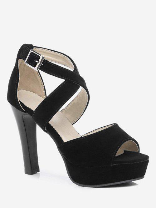Fancy Plus Size Peep Toe Crisscross Ankle Wrap Sandals