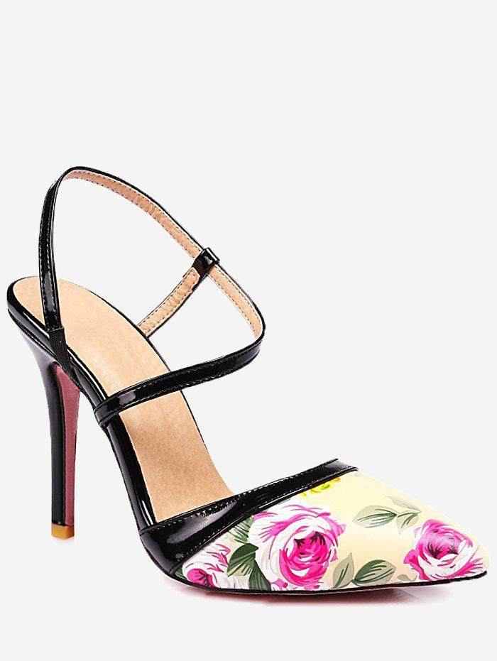 Outfit Plus Size High Heel Flower Decoration Slingback Sandals