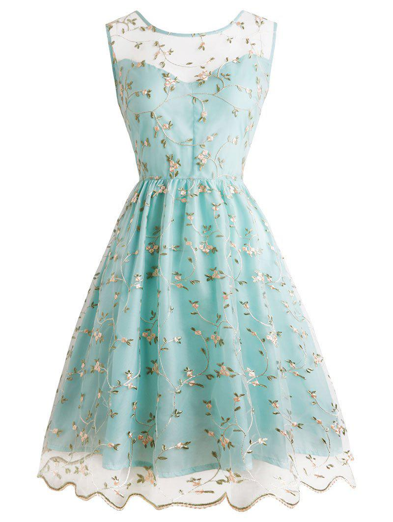 Affordable Tiny Floral Embroidery Sleeveless Dress