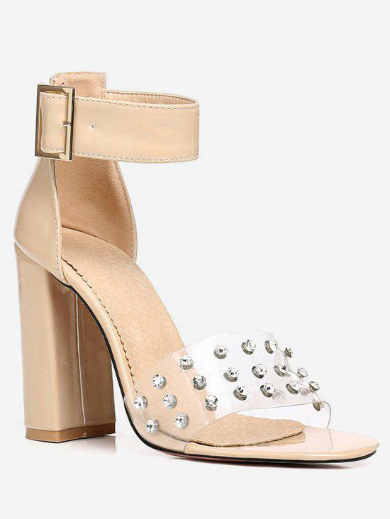 Latest Plus Size Transparent Strap Crystals Chunky Heel Sadnals