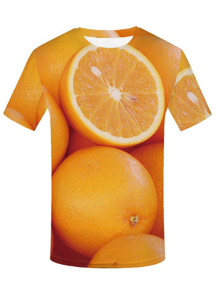 Unique 3D Orange Print Round Neck T-shirt