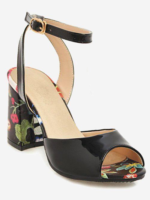Best Plus Size Block Heel Flower Ankle Strap Sandals