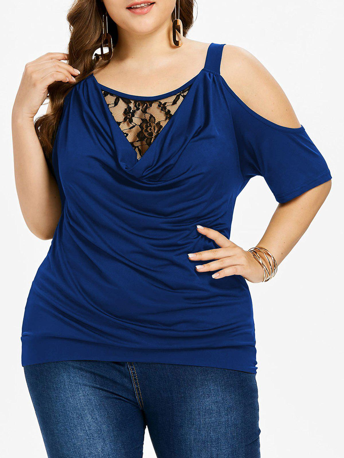 Chic Plus Size Lace Insert Cowl Neck T-shirt