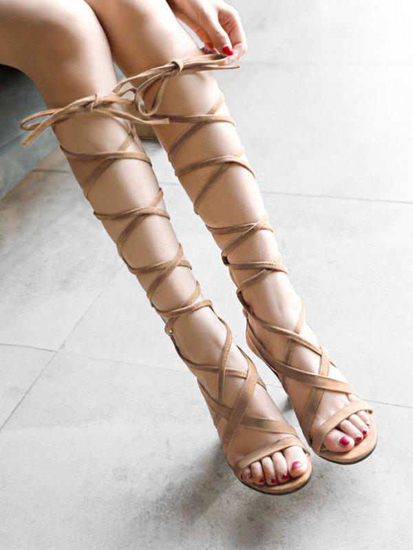 147a6878671d7 Outfit Plus Size Cross Strap High Heel Chic Lace Up Sandals