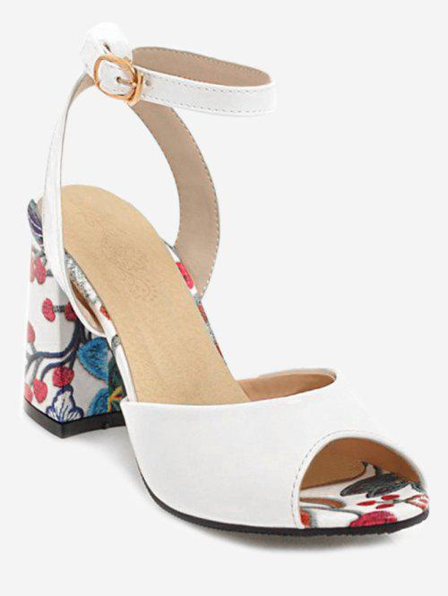 Online Plus Size Block Heel Flower Ankle Strap Sandals