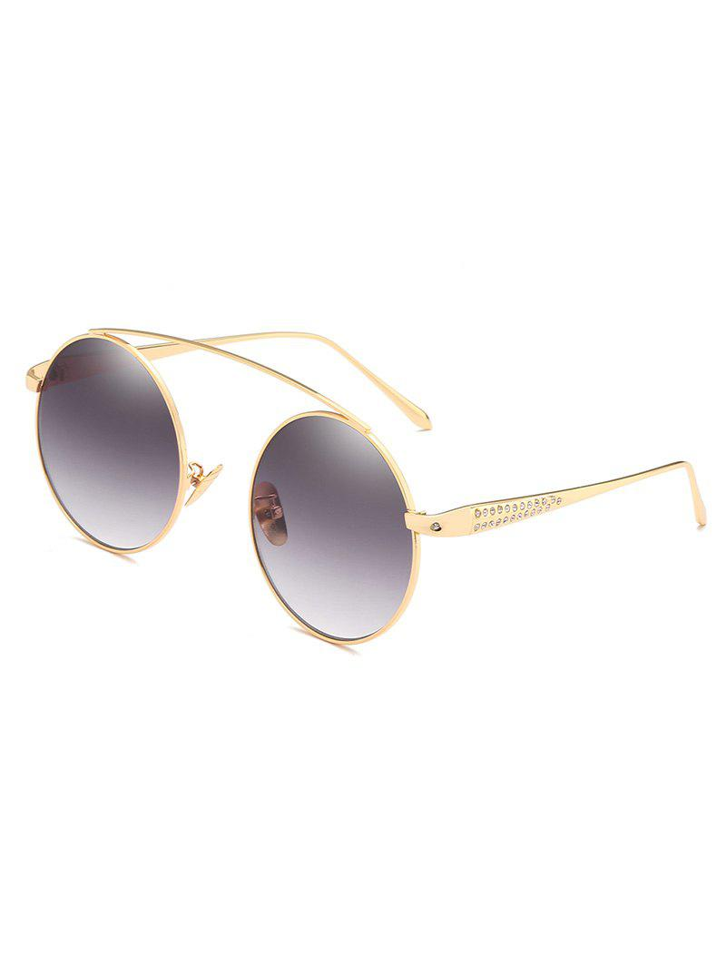 Shop Anti Fatigue Rhinestone Inlaid Crossbar Round Sunglasses