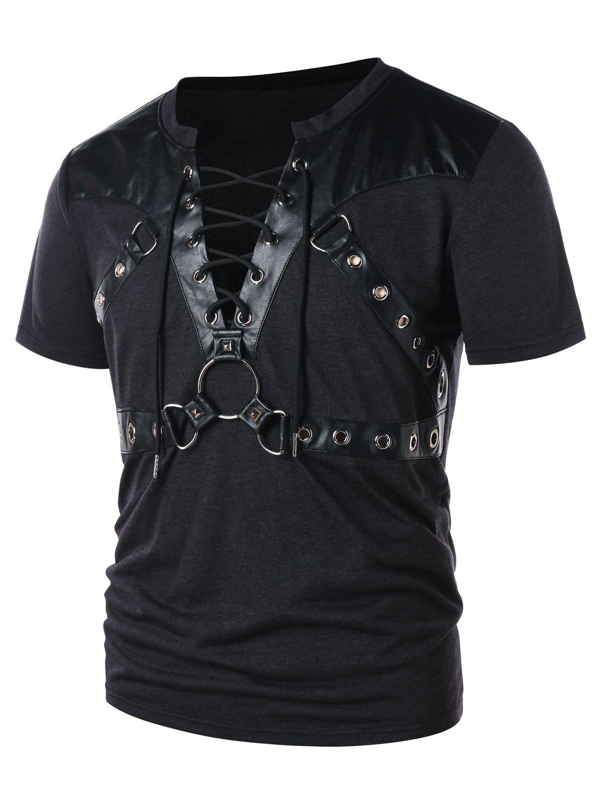 Shop Round Hold Decorated Panel Lace Up T-shirt