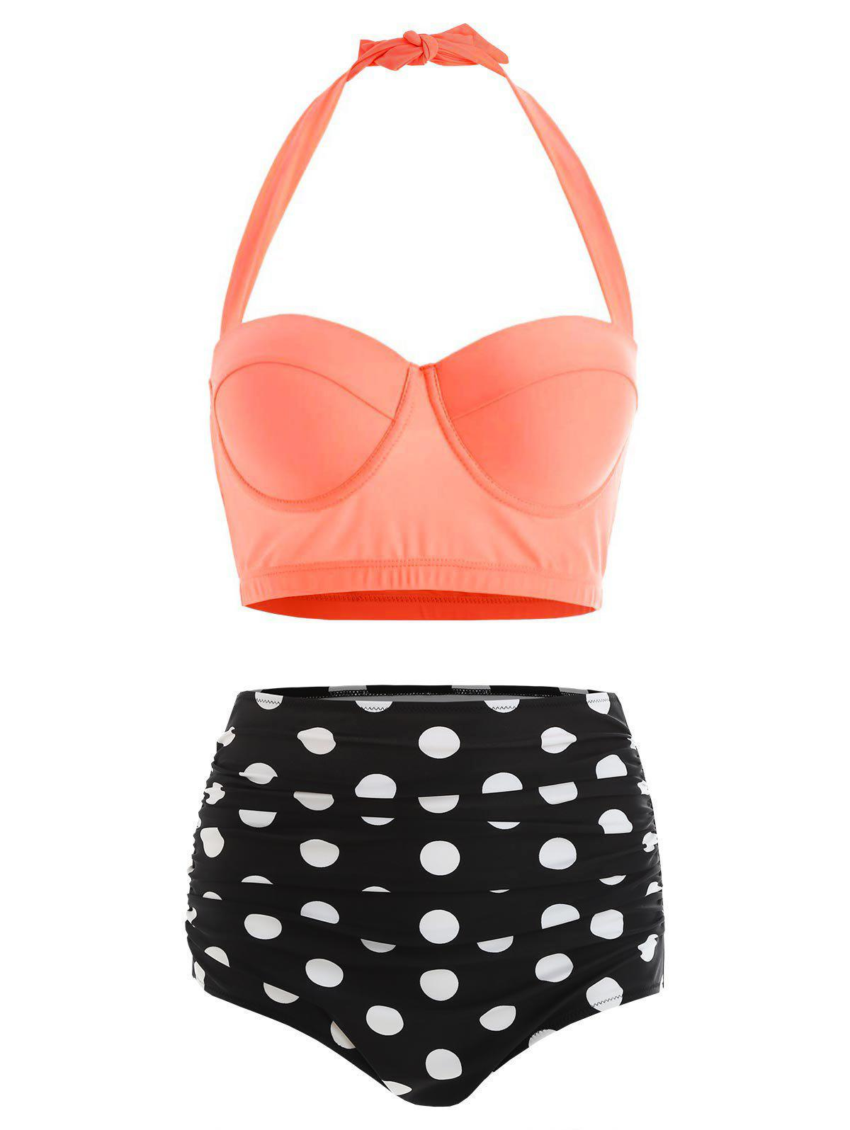 Unique Polka Dot Plus Size Halter High Waisted 50s Bikini