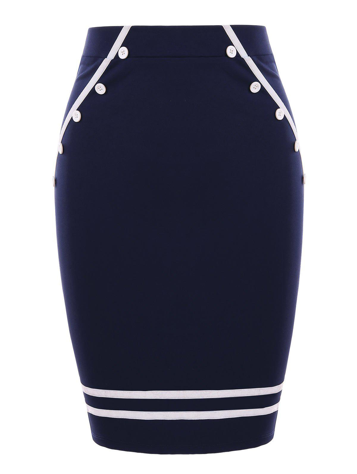 Latest Stripe Trim Bodycon Sailor Skirt
