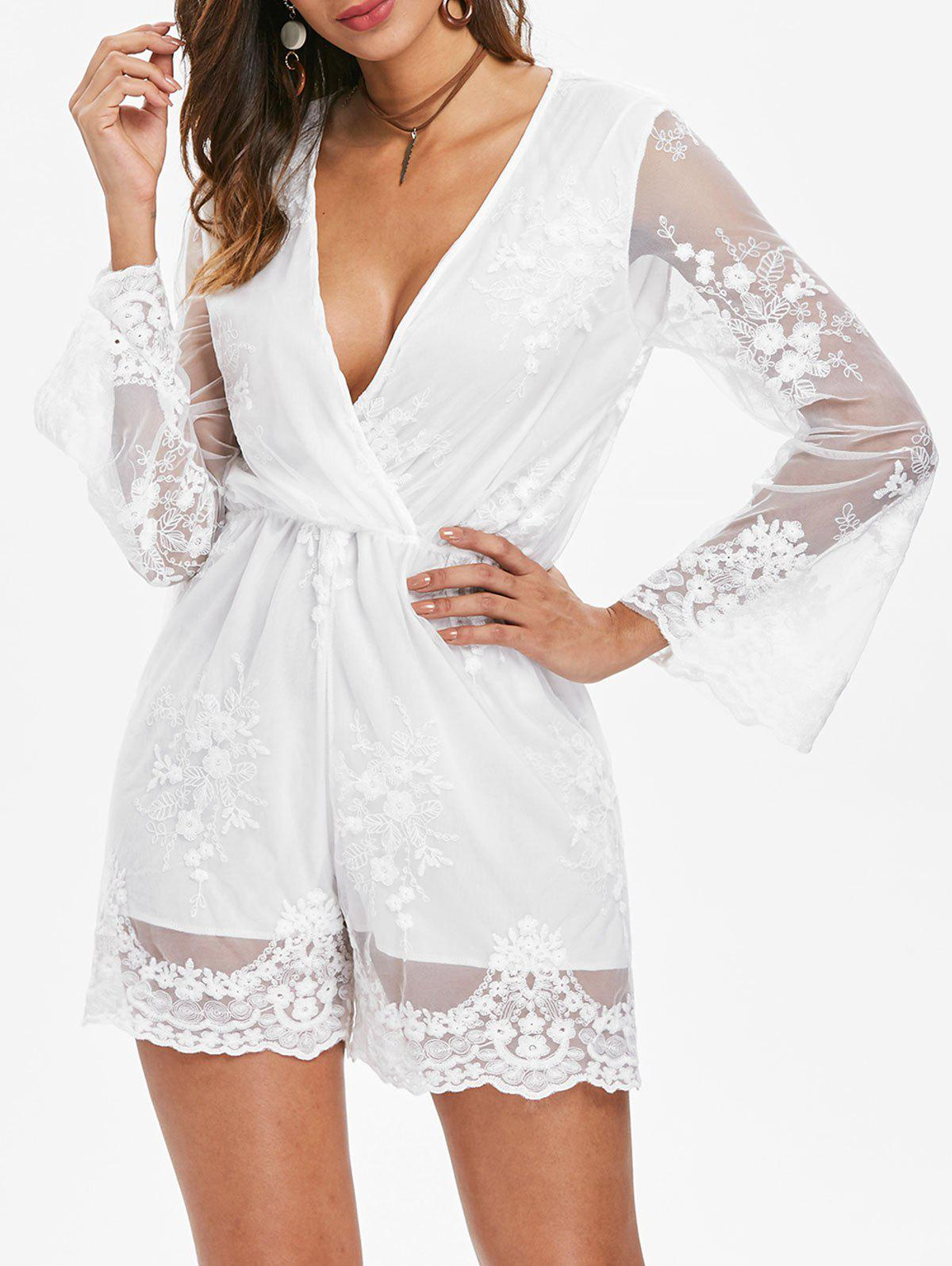 Store Long Sleeve Lace Romper