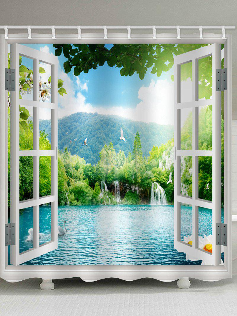 Unique Window Scene Print Waterproof Bath Curtain