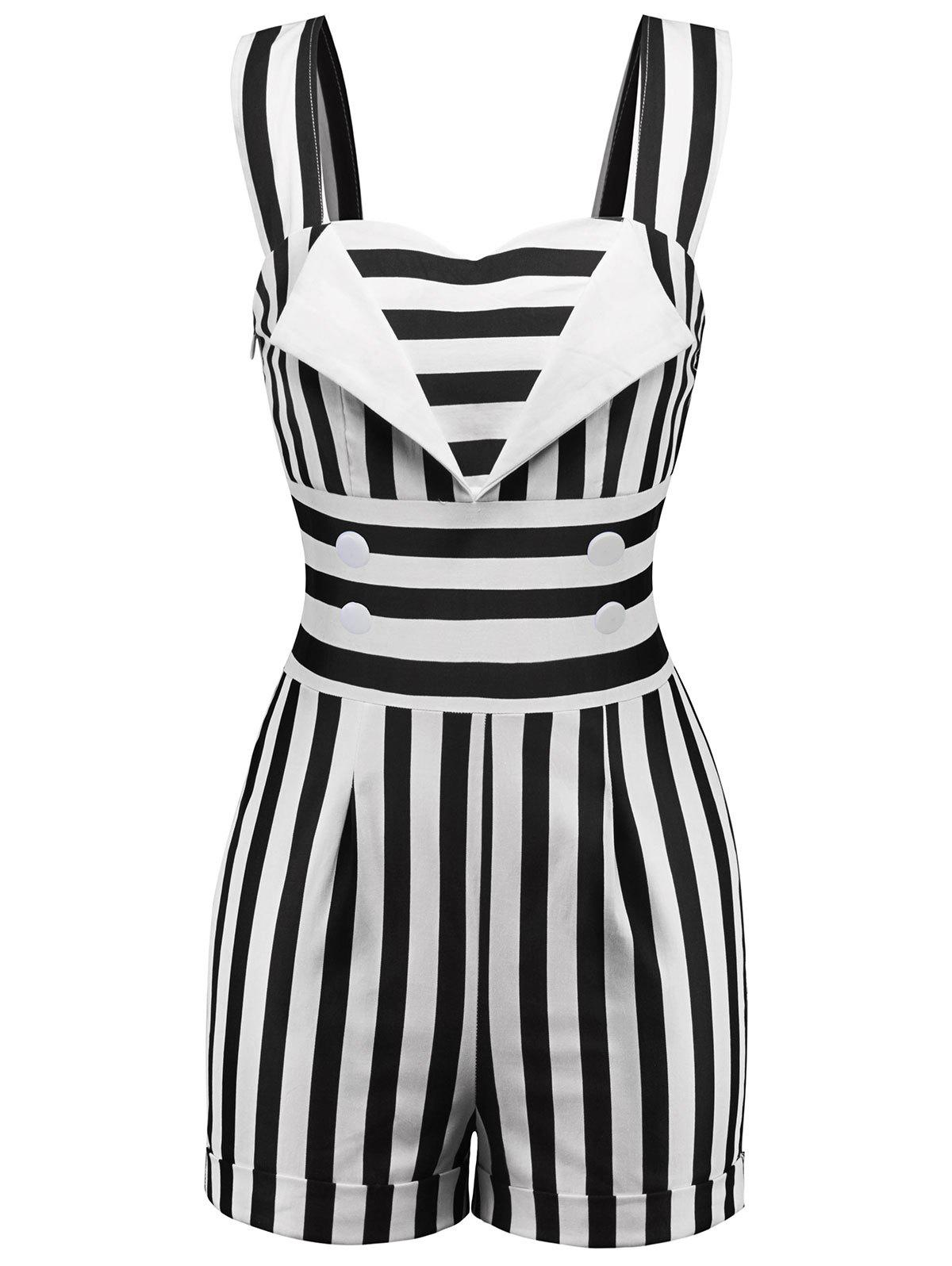 Online Button Embellished Striped Romper