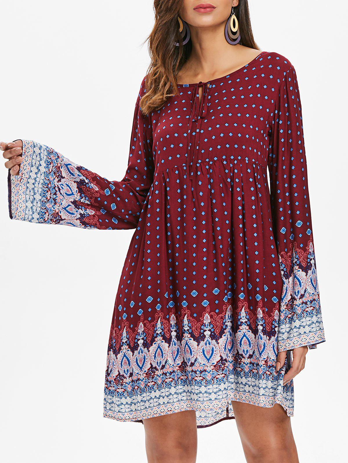 Cheap Full Sleeve Ethnic Print Casual Dress