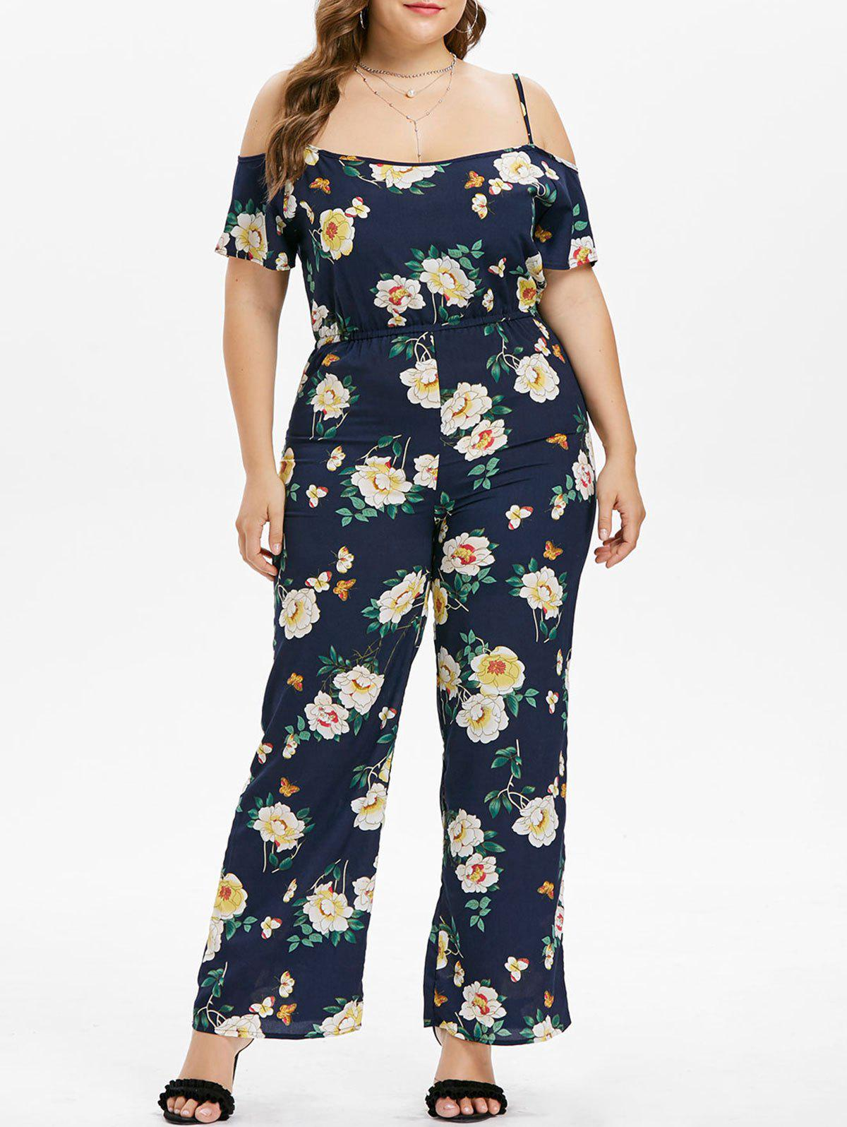 Discount Plus Size Flower Cami Jumpsuit