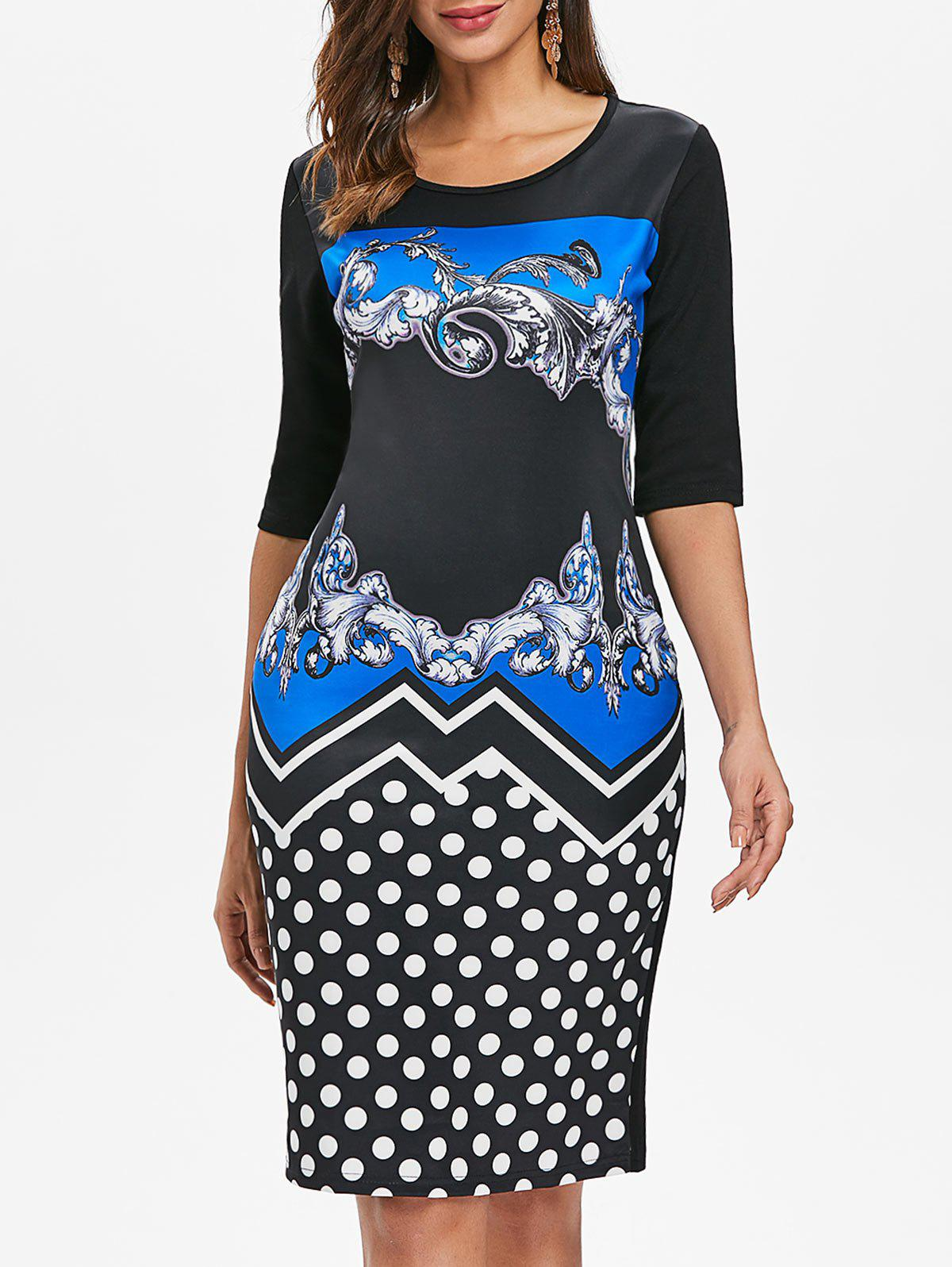 Fancy Baroque Print Dotted Sheath Dress