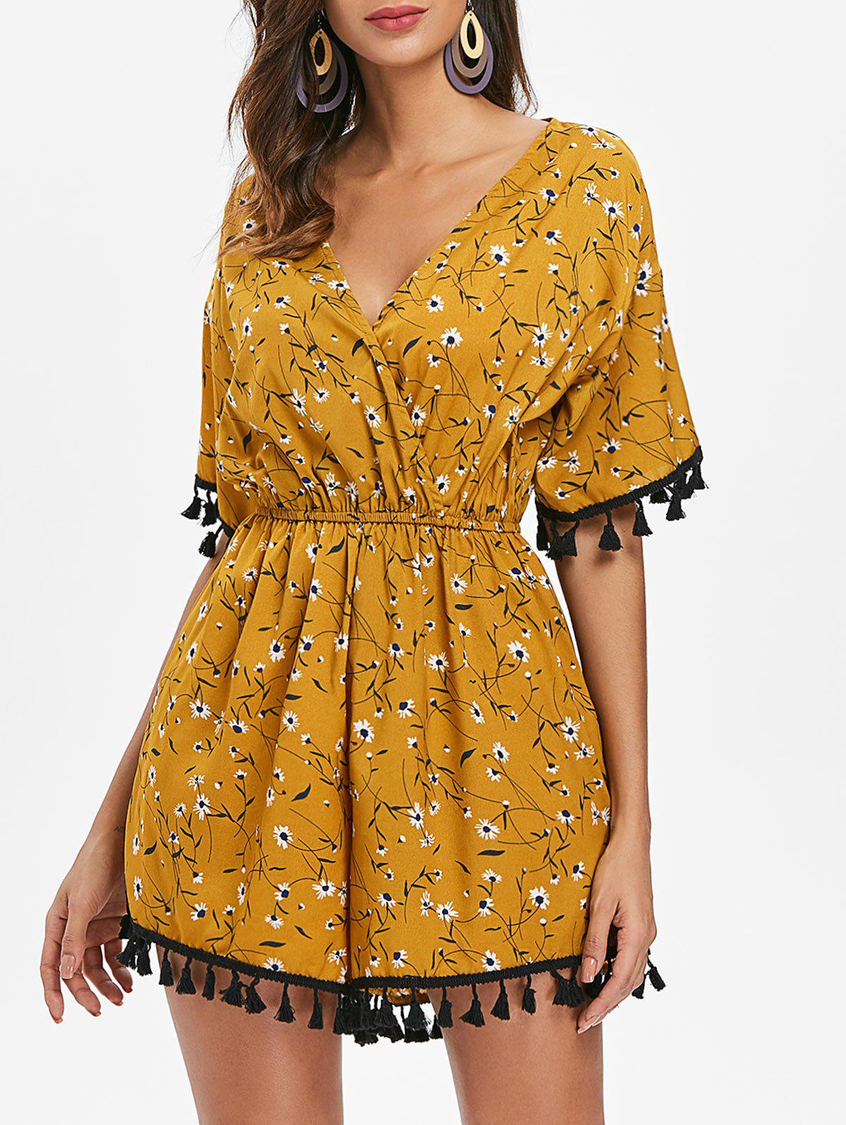 Affordable V Neck Tassels Floral Playsuit