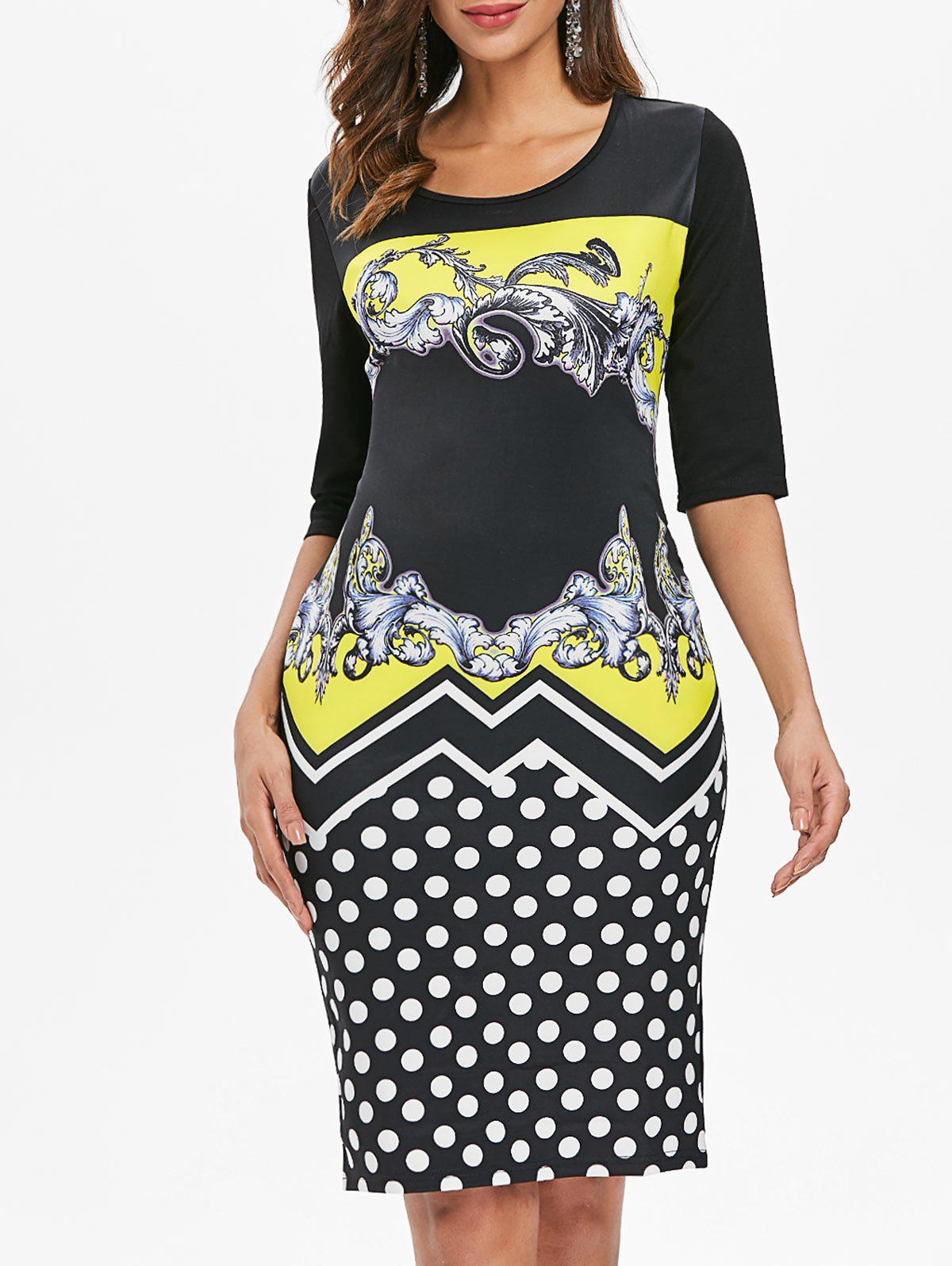 Chic Baroque Print Dotted Sheath Dress