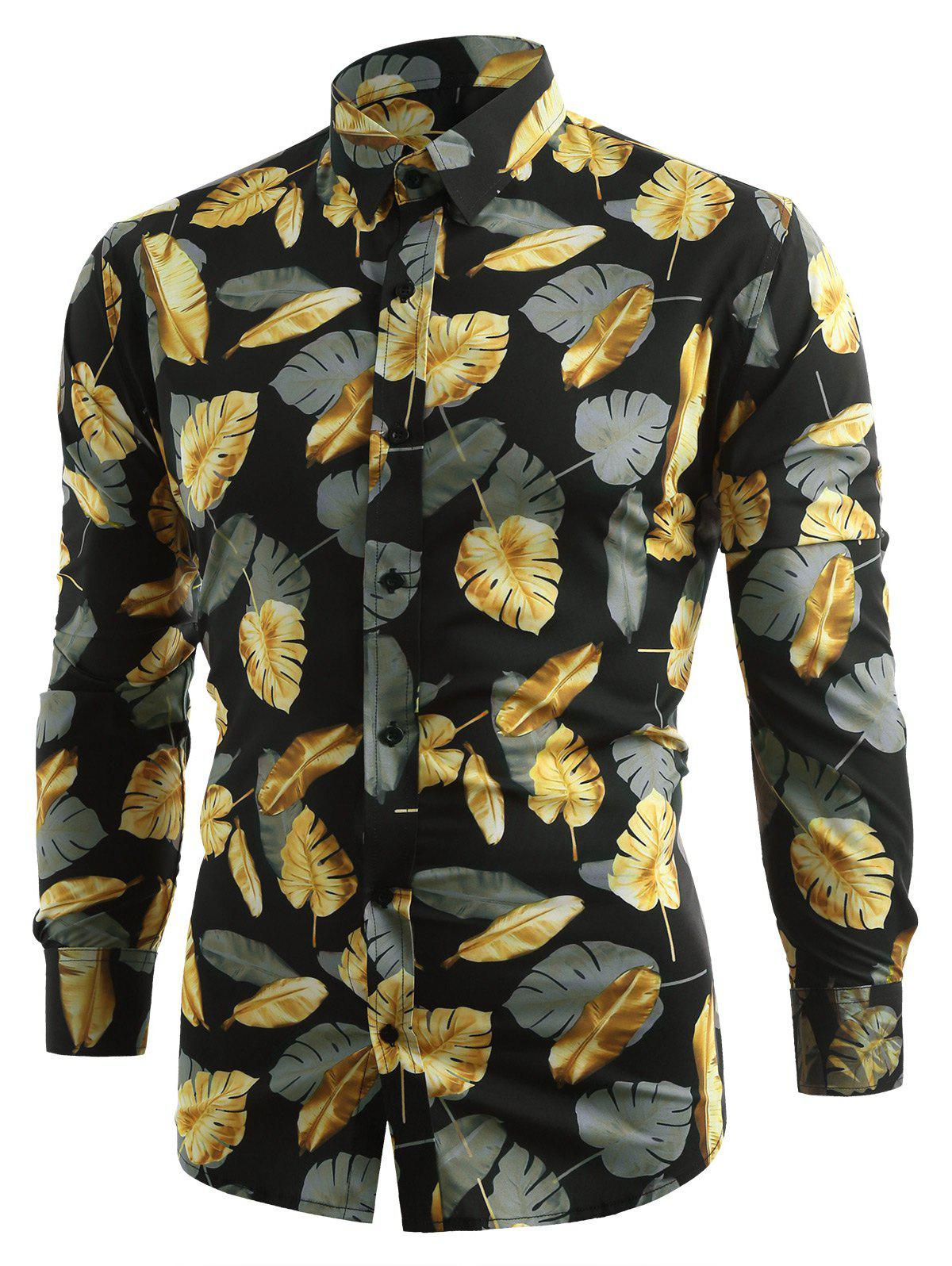 Shop Long Sleeve Allover Golden Leaves Printed Shirt