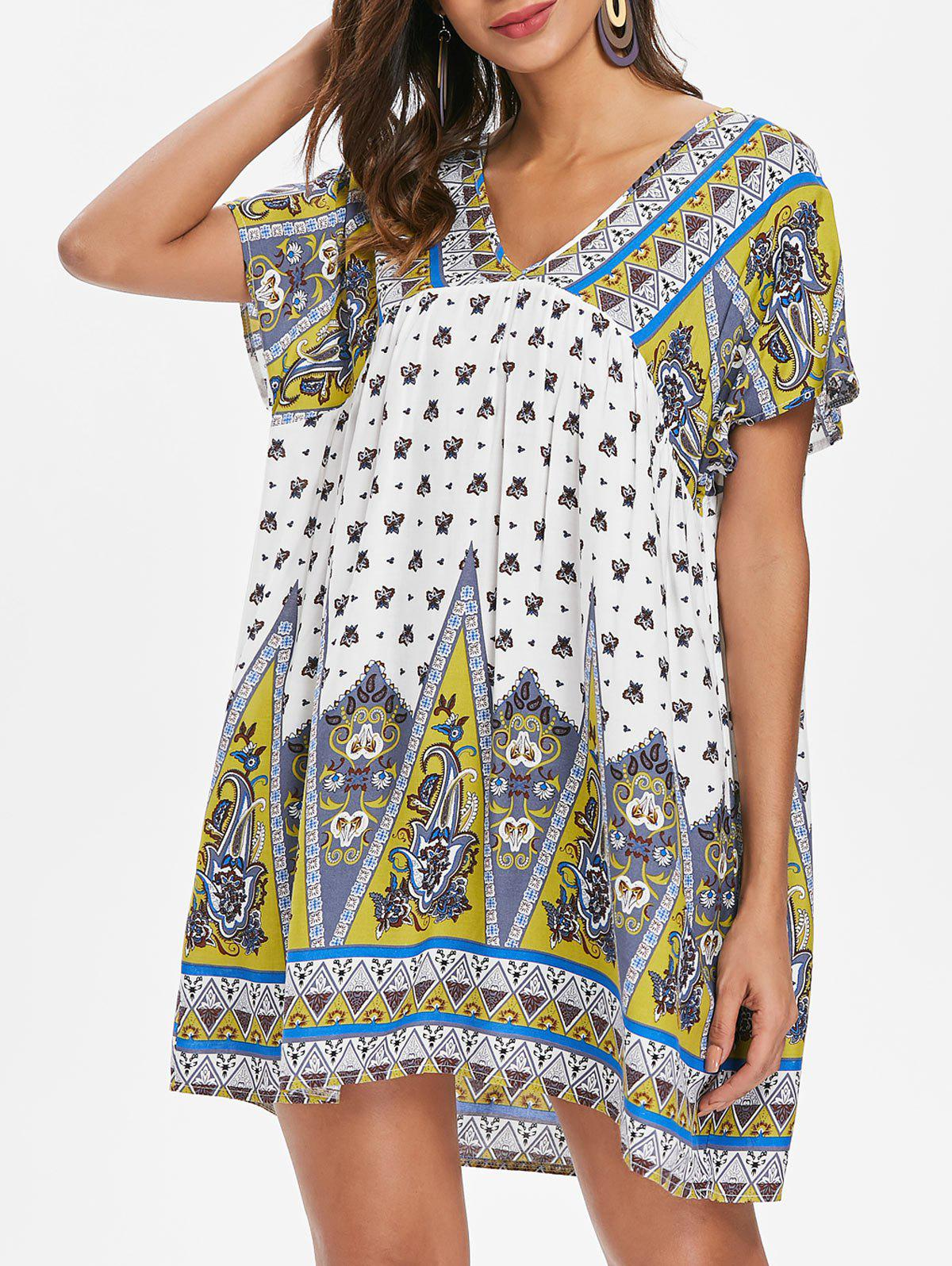 Sale Ethnic Print Short Smock Dress