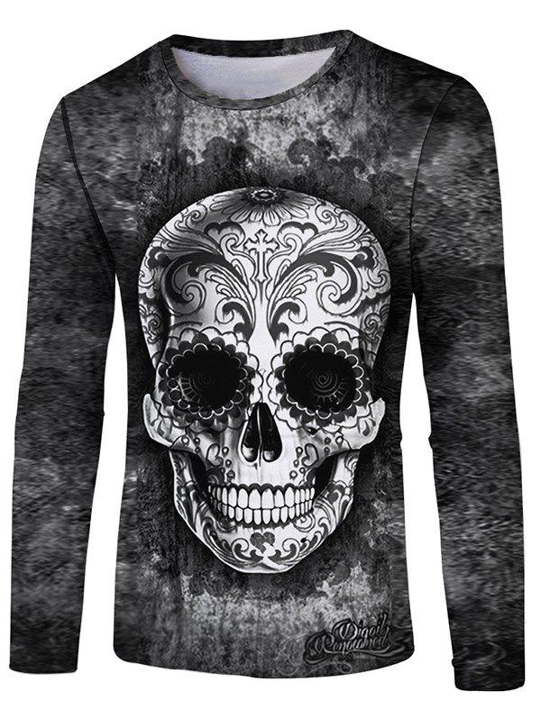 Cheap Flower Skull Print Round Neck T-shirt