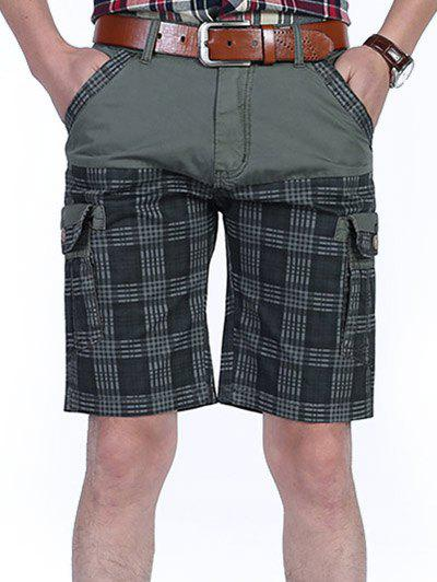 Online Six-pocket Check Design Patchwork Cargo Shorts