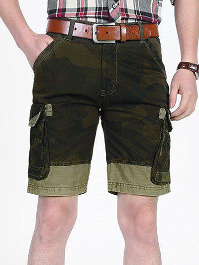 Fancy Camouflage Pattern Patchwork Pockets Cargo Shorts