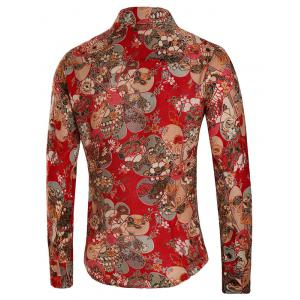 Floral Print Button Up Long Sleeve Shirt -