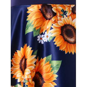 Sunflower Print Round Neck A Line Dress -