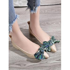 Pointed Toe Striped Bowknot Leisure Flats - BEIGE Outlet 2018 Newest I0BGo81a